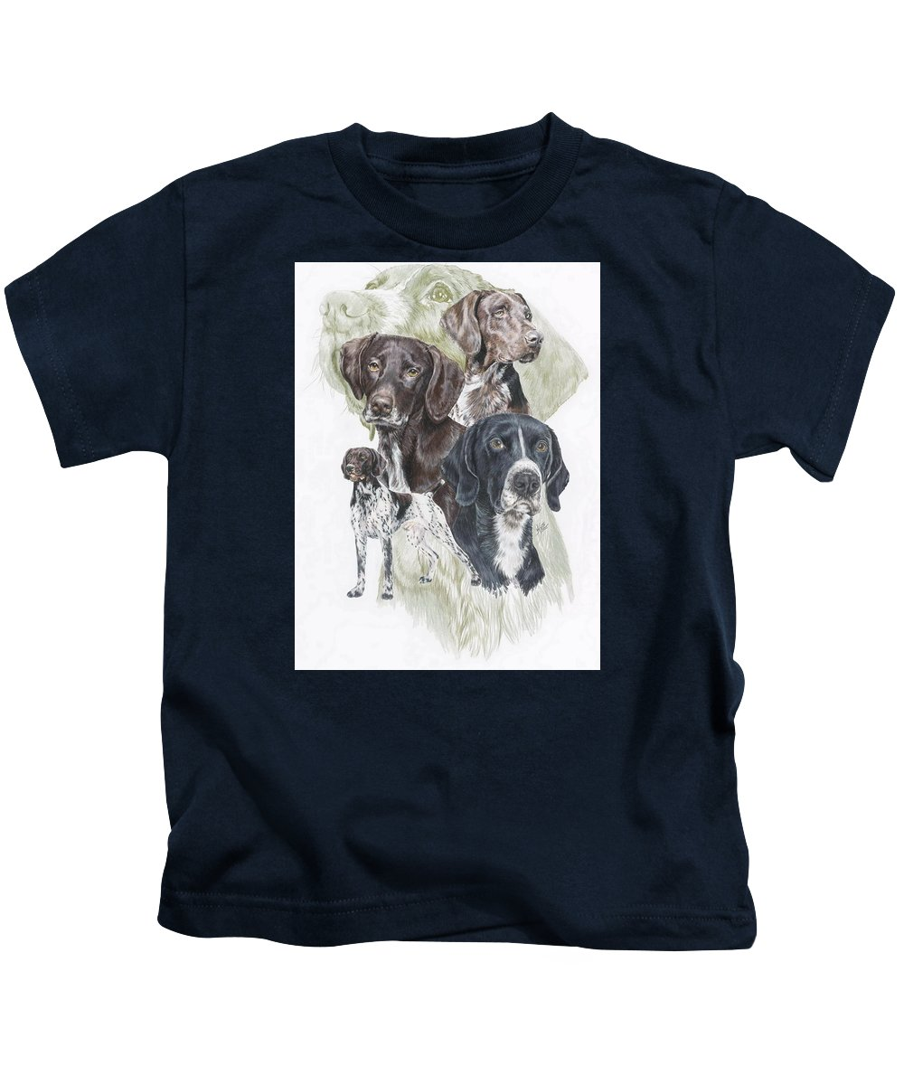 Gshp Kids T-Shirt featuring the mixed media German Shorted-haired Pointer Revamp by Barbara Keith