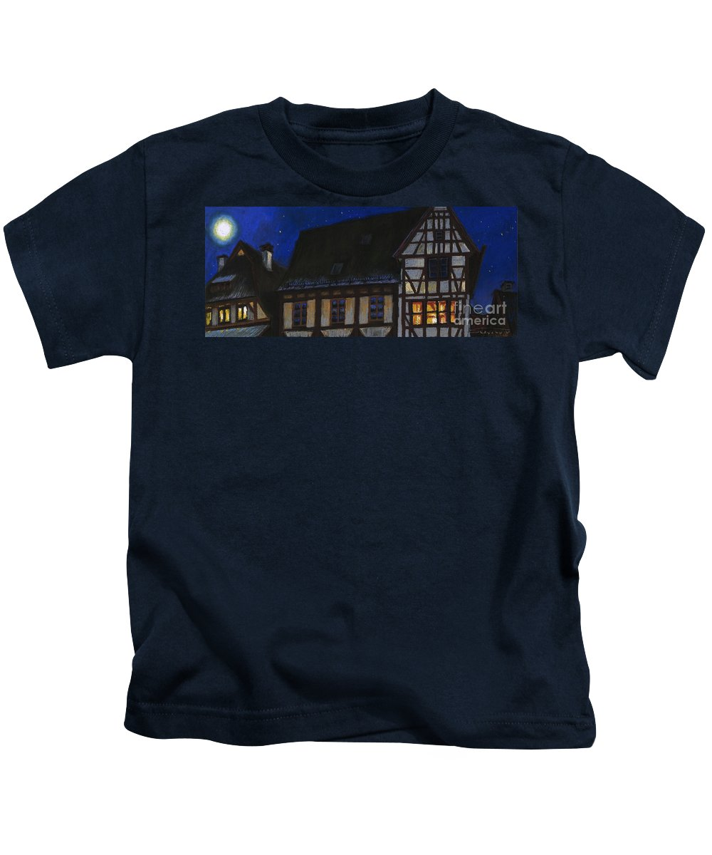 Pastel Kids T-Shirt featuring the painting Germany Ulm Fischer Viertel Moonroofs by Yuriy Shevchuk