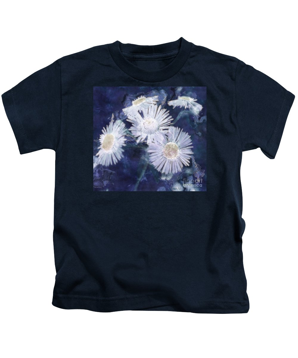Asters Kids T-Shirt featuring the painting Ghost Flowers by RC DeWinter