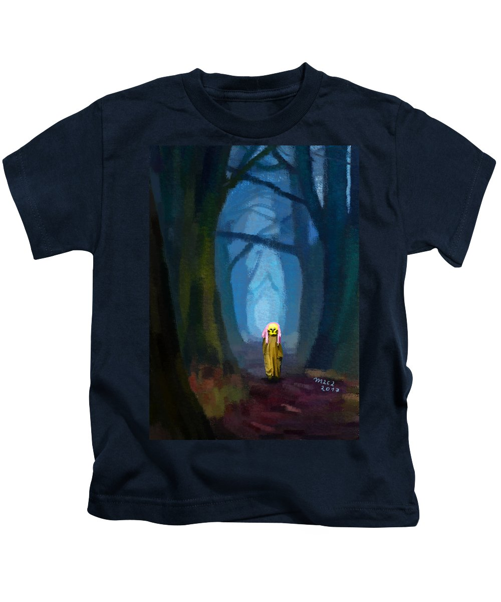 Ghost Kids T-Shirt featuring the painting Ghost On The Road 419 by Maciej Mackiewicz