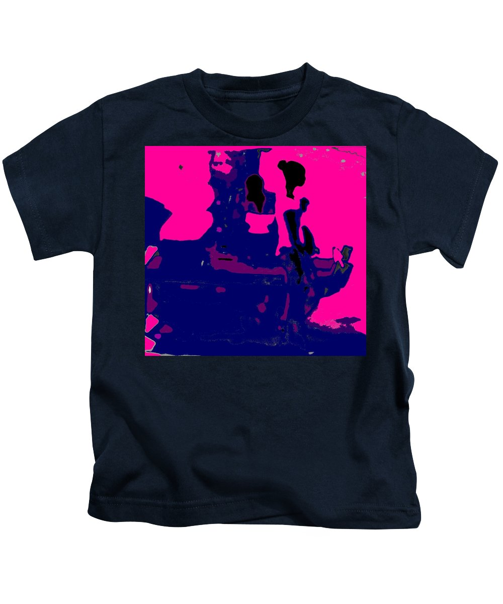 Girl Kids T-Shirt featuring the photograph Girl Passing Coconut Vendor Reading by Ian MacDonald