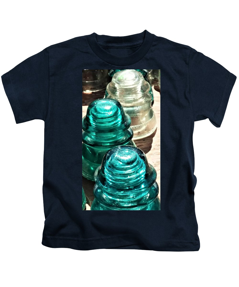 Antique Kids T-Shirt featuring the photograph Glass Insulators by Linda Benoit