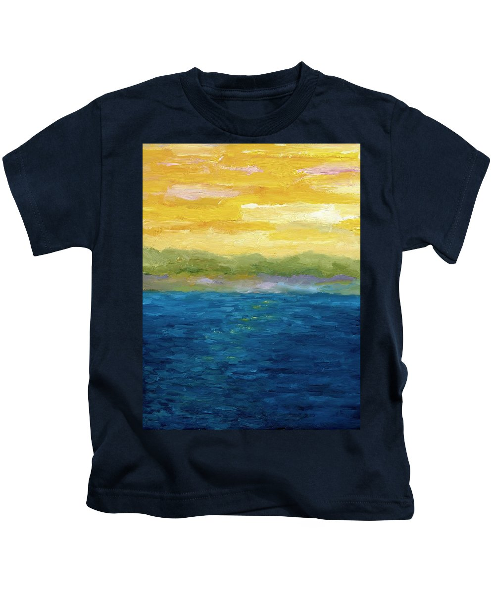 Lake Kids T-Shirt featuring the painting Gold And Pink Sunset by Michelle Calkins