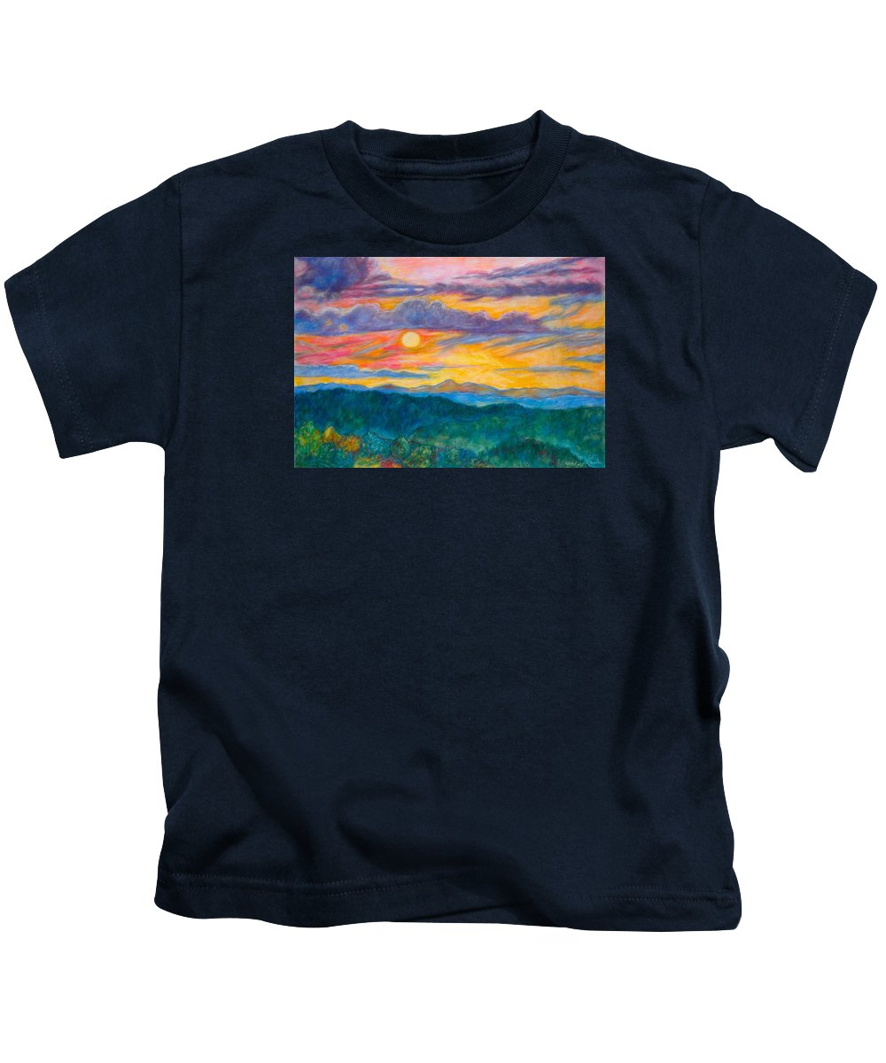 Landscape Kids T-Shirt featuring the painting Golden Blue Ridge Sunset by Kendall Kessler