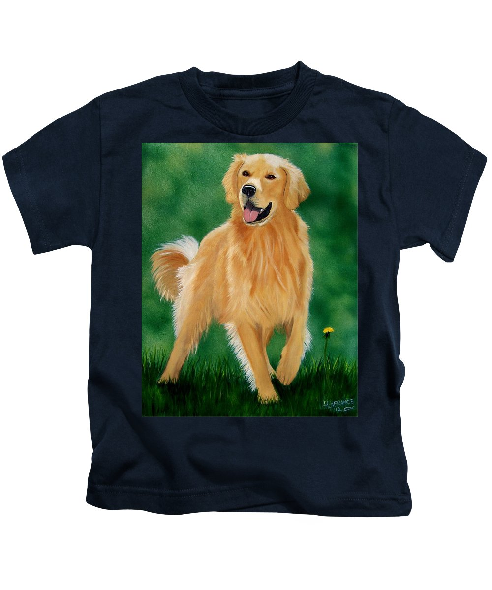 Golden Retriever Kids T-Shirt featuring the painting Golden by Debbie LaFrance