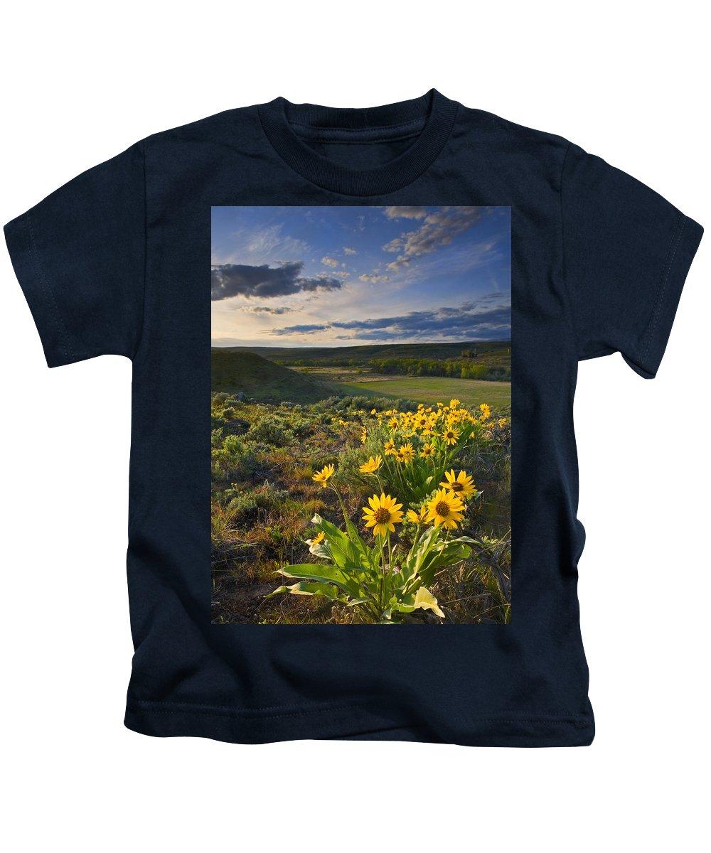 Balsamroot Kids T-Shirt featuring the photograph Golden Hills by Mike Dawson