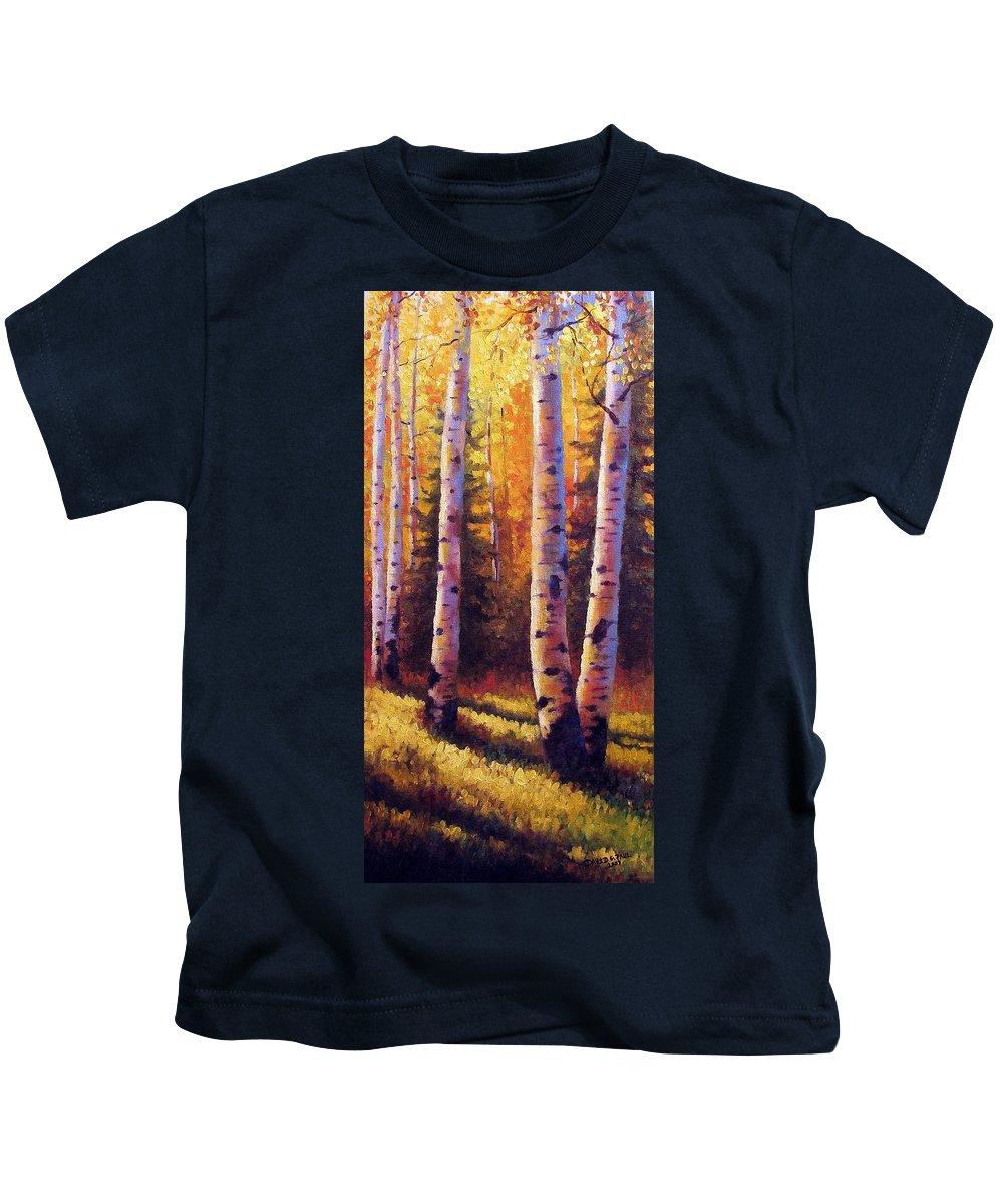Light Kids T-Shirt featuring the painting Golden Light by David G Paul