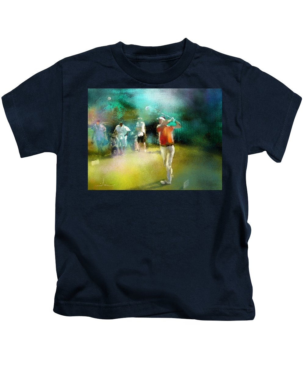 Golf Painting Golfer Sport Pga Tour Club Fontana Vienna Austria Austria Open Kids T-Shirt featuring the painting Golf In Club Fontana Austria 03 by Miki De Goodaboom