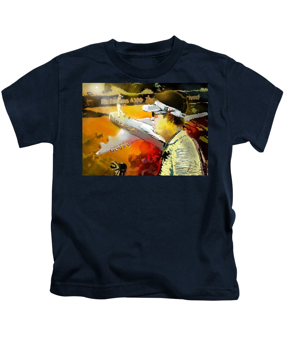 Golf Painting Golfer Sport Pga Tour Club Fontana Vienna Austria Austria Open Kids T-Shirt featuring the painting Golf In Club Fontana Austria 04 by Miki De Goodaboom