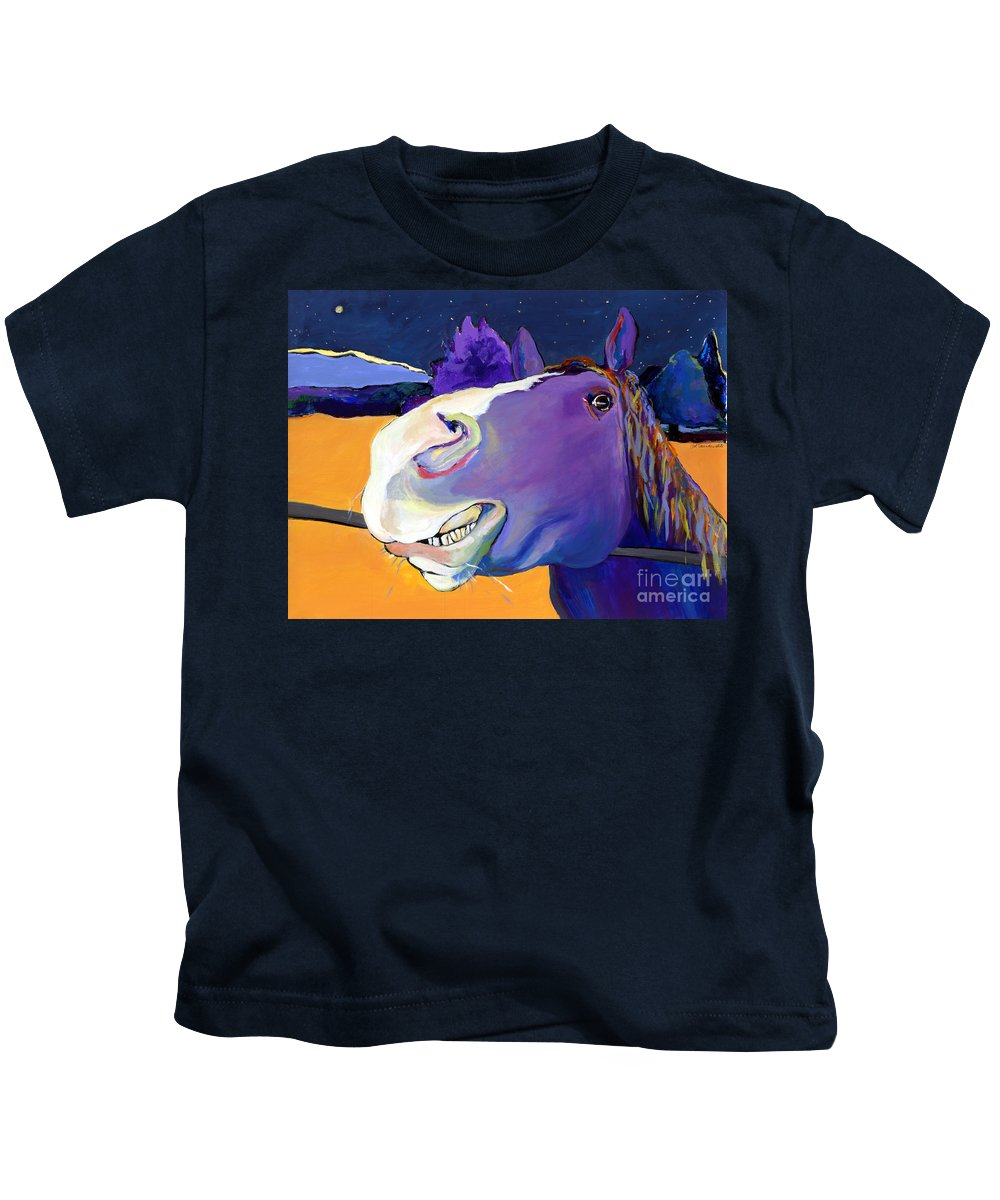 Barnyard Animal Kids T-Shirt featuring the painting Got Oats   by Pat Saunders-White