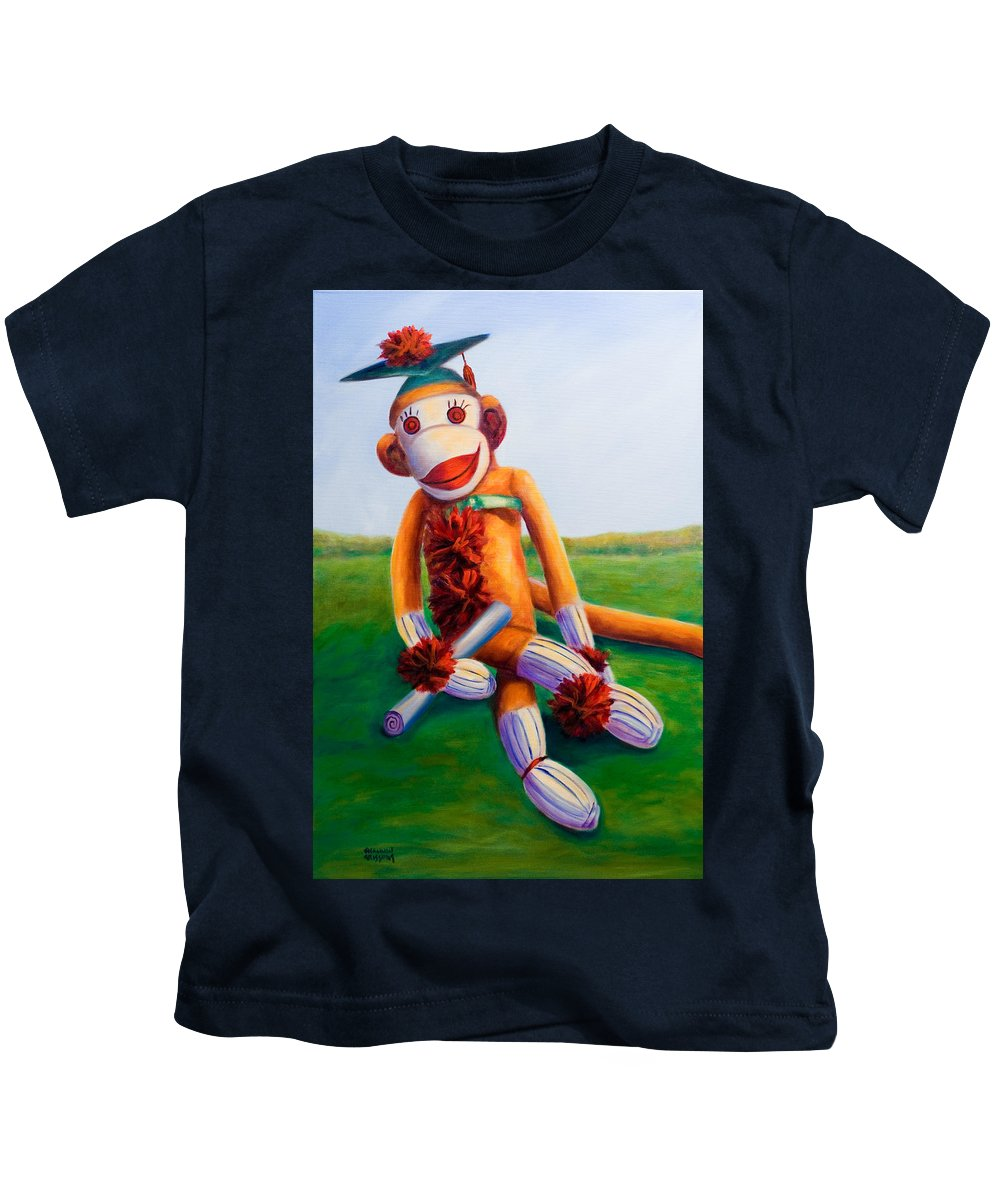 Graduation Kids T-Shirt featuring the painting Graduate Made Of Sockies by Shannon Grissom