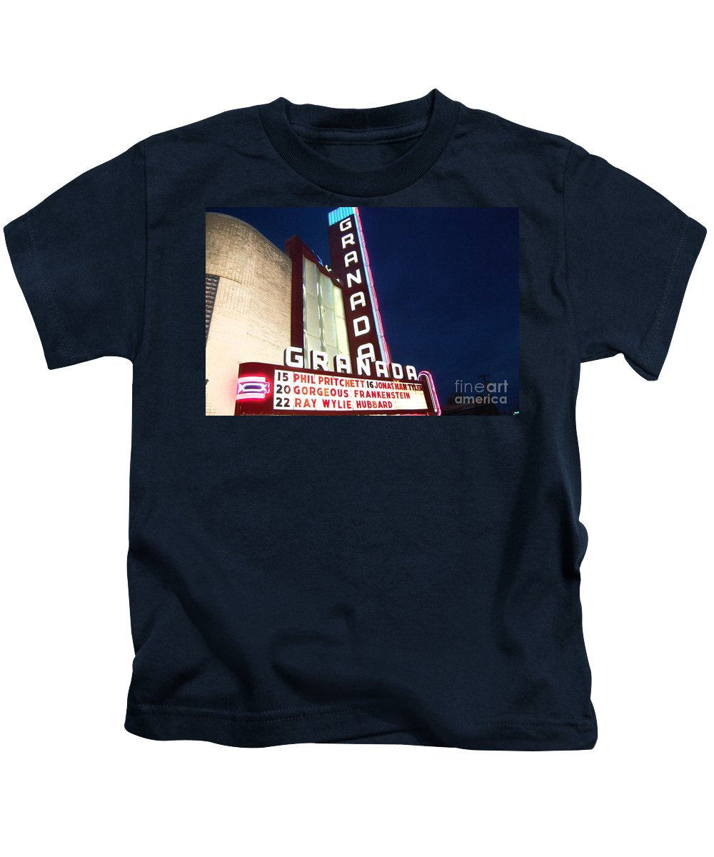 Music Kids T-Shirt featuring the photograph Granada Theater by Debbi Granruth