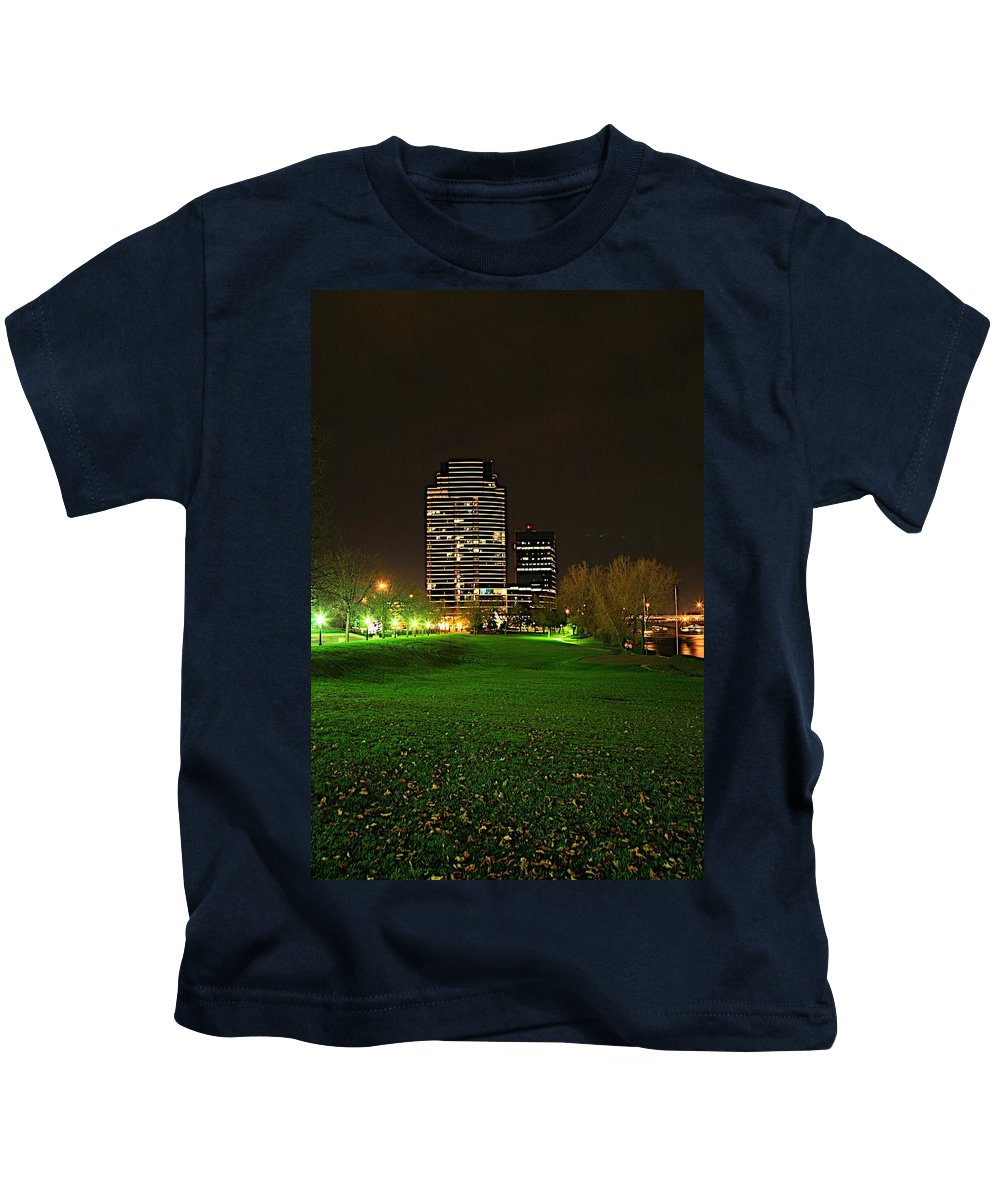 Grand Rapids Mi City Scapes Kids T-Shirt featuring the photograph Grand Rapids Mi Under The Lights-5 by Robert Pearson