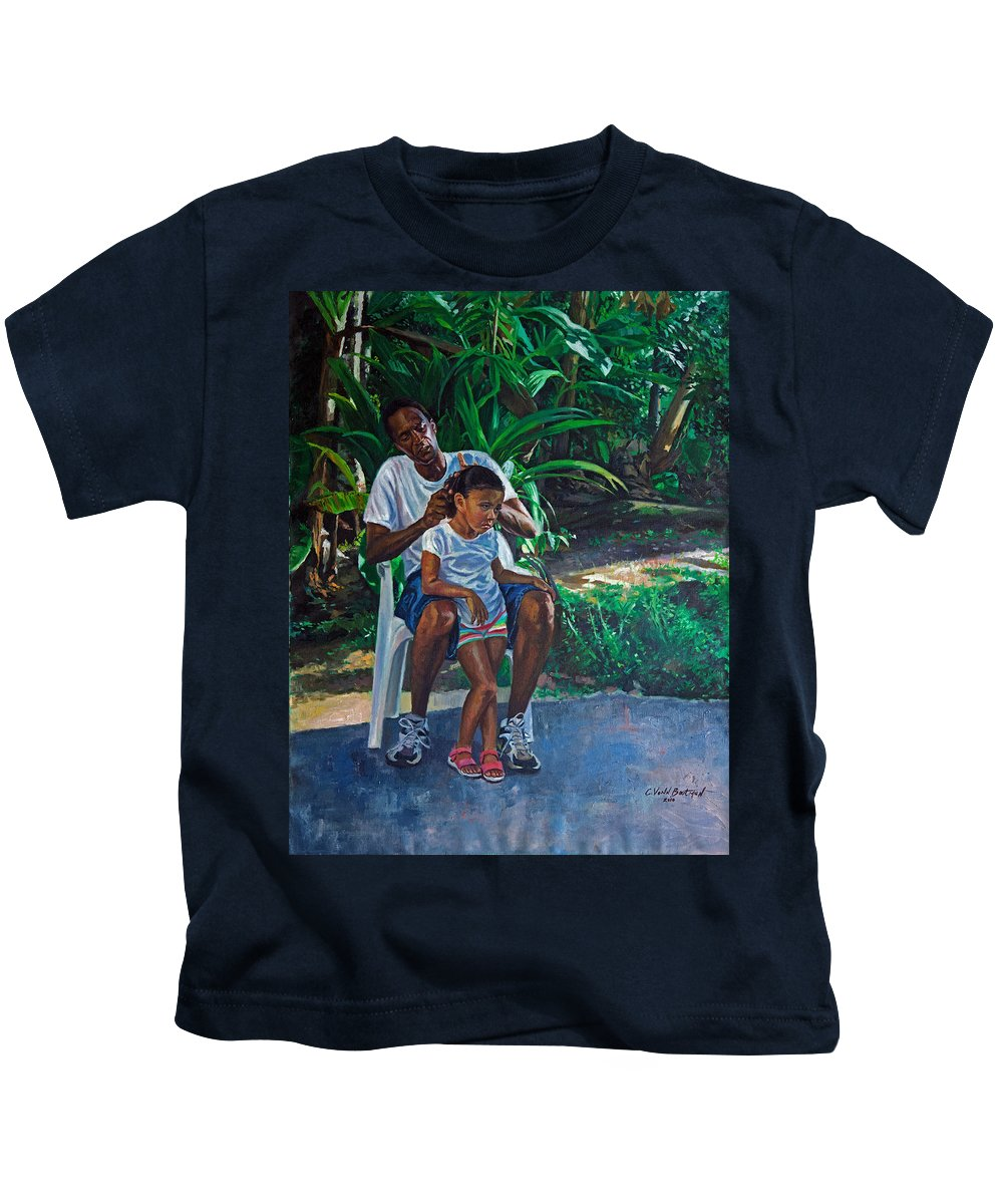 Family Kids T-Shirt featuring the painting Grandfather And Child by Colin Bootman