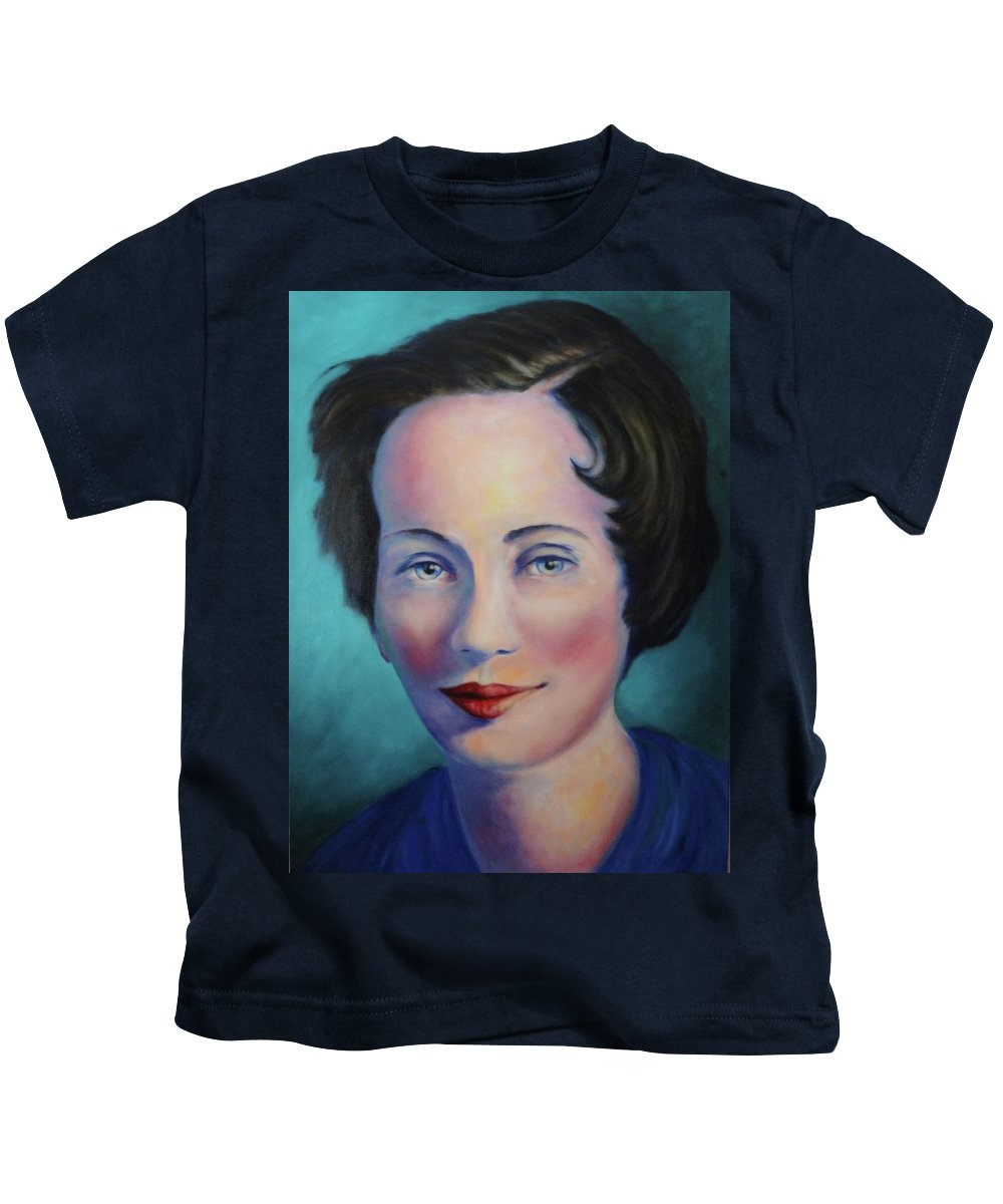 Painting Kids T-Shirt featuring the painting Grandmother by Shannon Grissom