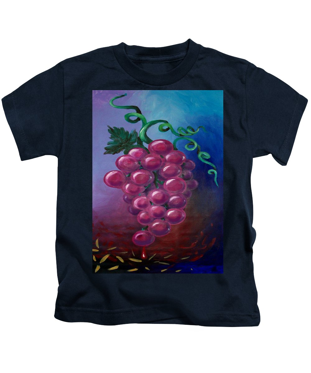 Grape Kids T-Shirt featuring the painting Grapes by Kevin Middleton