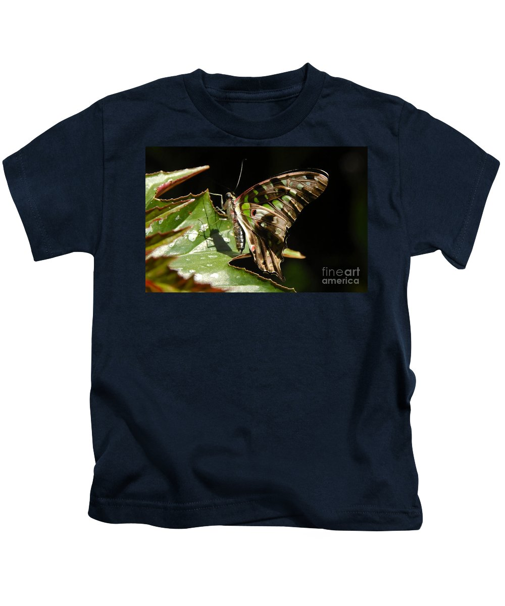Butterfly Kids T-Shirt featuring the photograph Green Checkered Skipper by David Lee Thompson