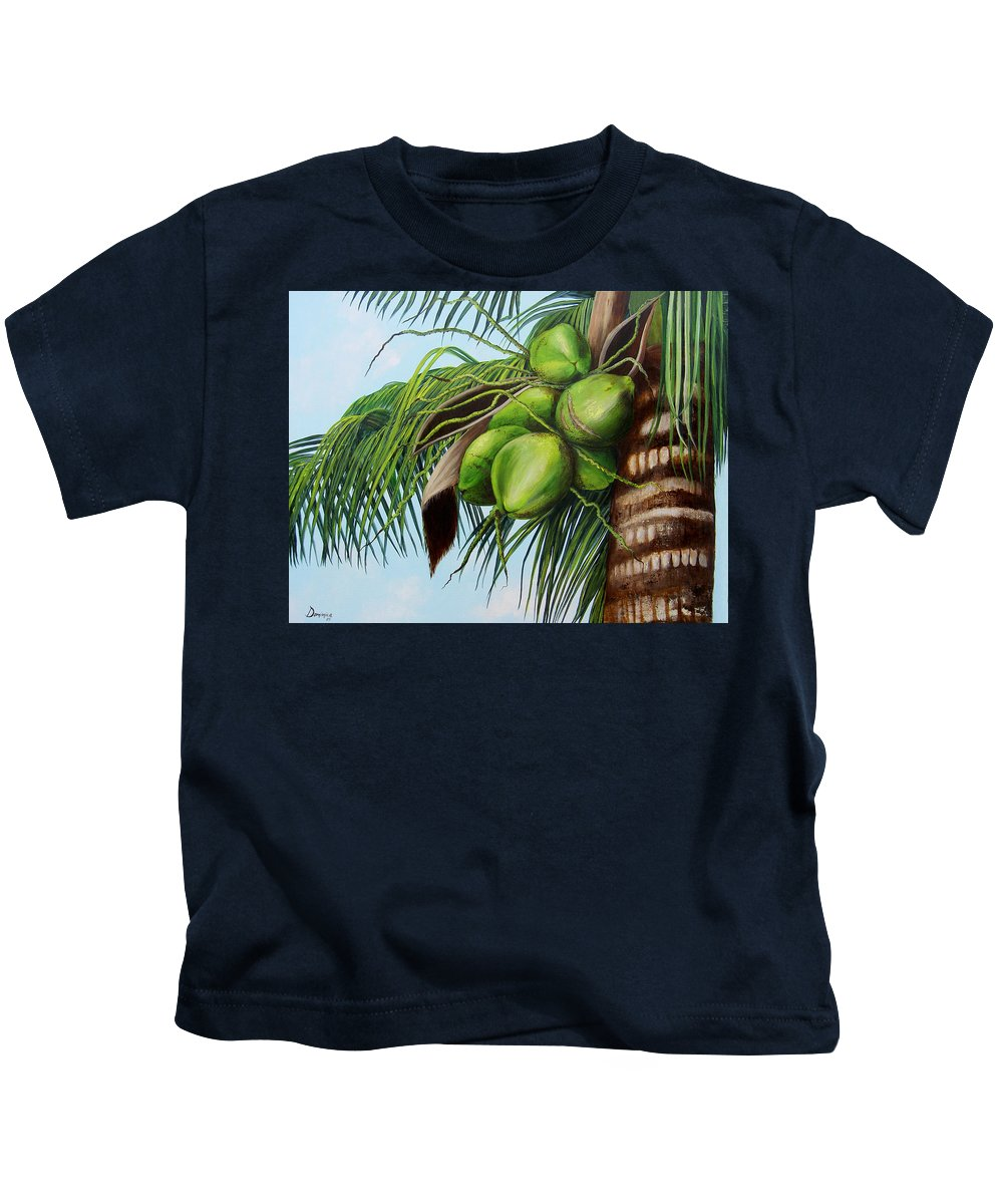 Coconuts Kids T-Shirt featuring the painting Green Coconuts- 01 by Dominica Alcantara