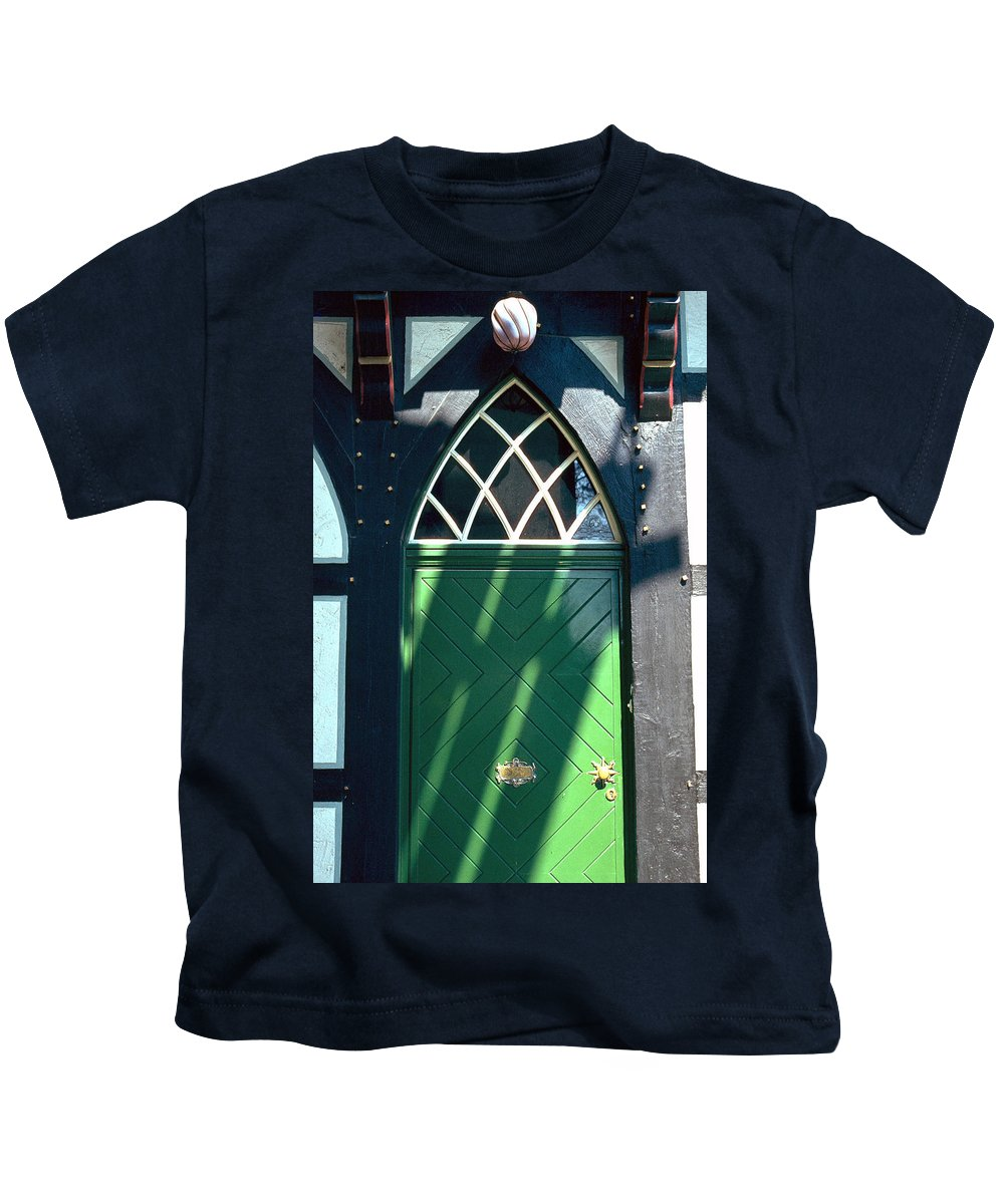 Green Kids T-Shirt featuring the photograph Green Door by Flavia Westerwelle