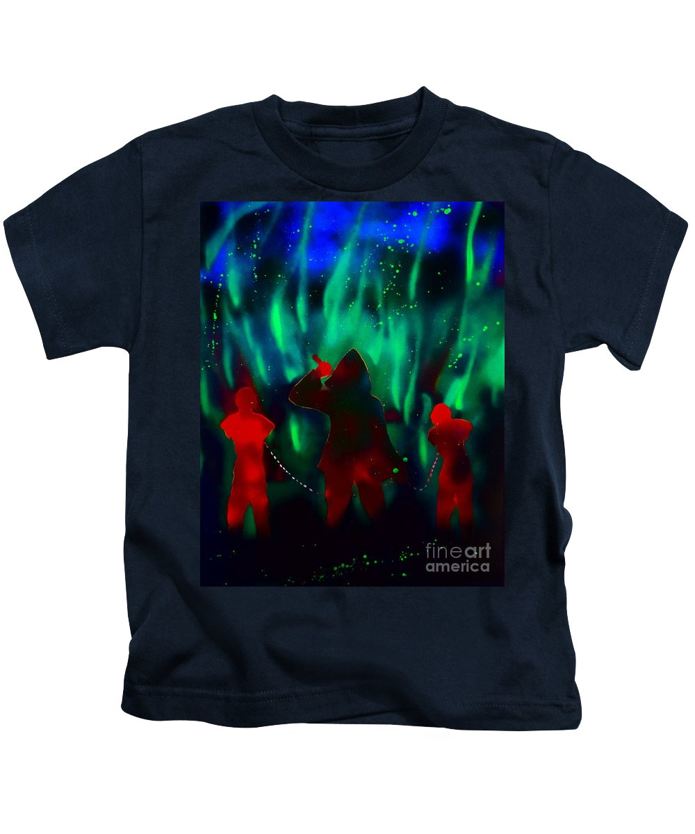 Justin Moore Kids T-Shirt featuring the painting Green Flames In The Night by Justin Moore