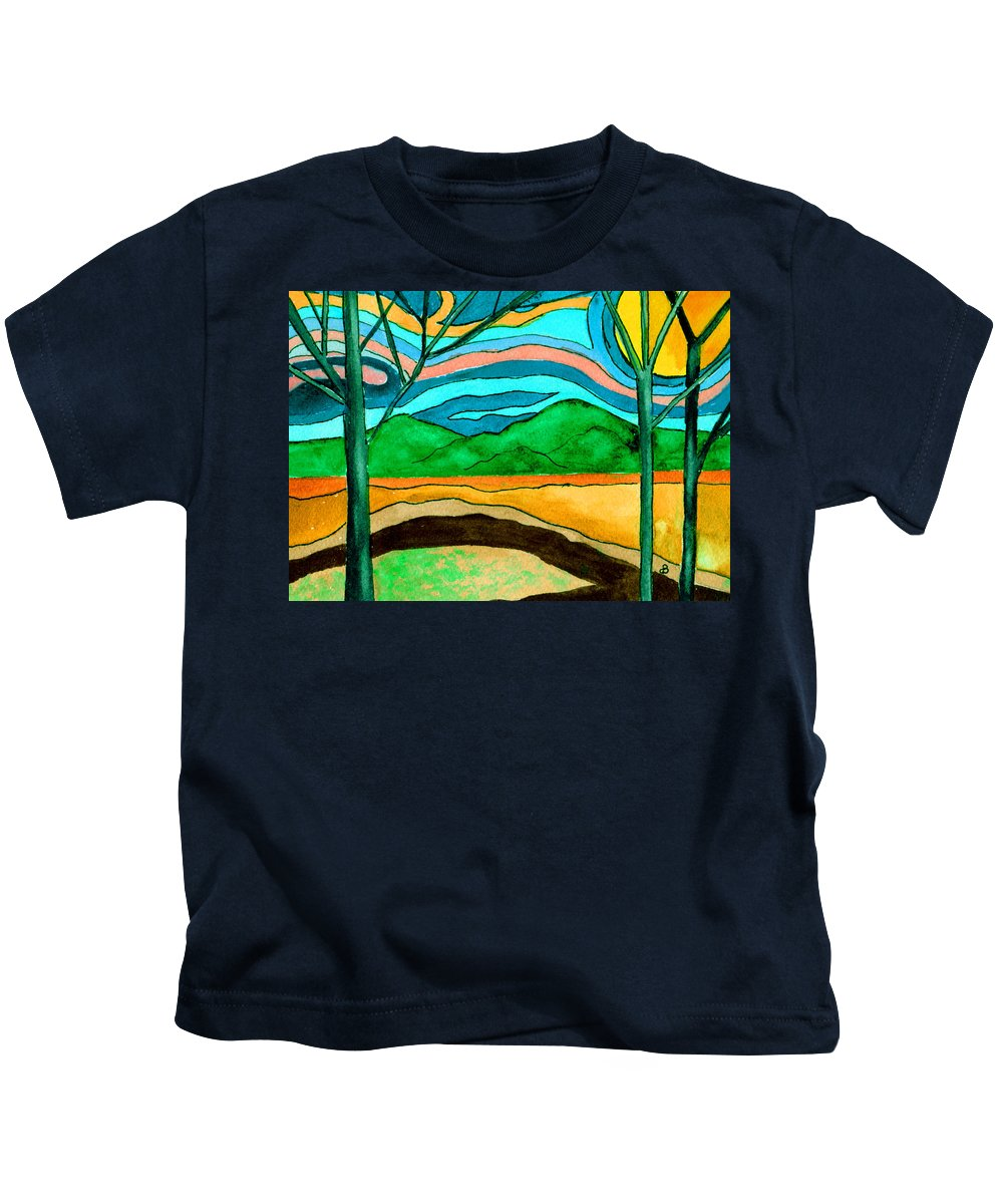 Watercolor Kids T-Shirt featuring the painting Green Hill Country by Brenda Owen