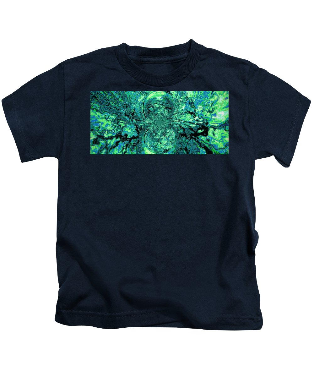Green Kids T-Shirt featuring the digital art Green Irrevelance by Simply Summery