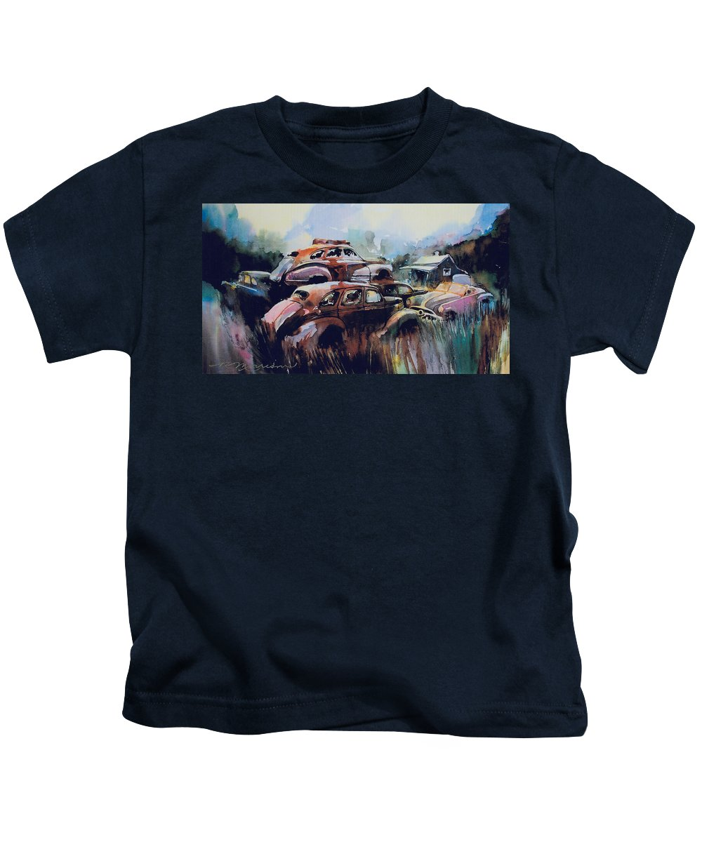Rusted Chevs Kids T-Shirt featuring the painting Growing Older by The Year by Ron Morrison