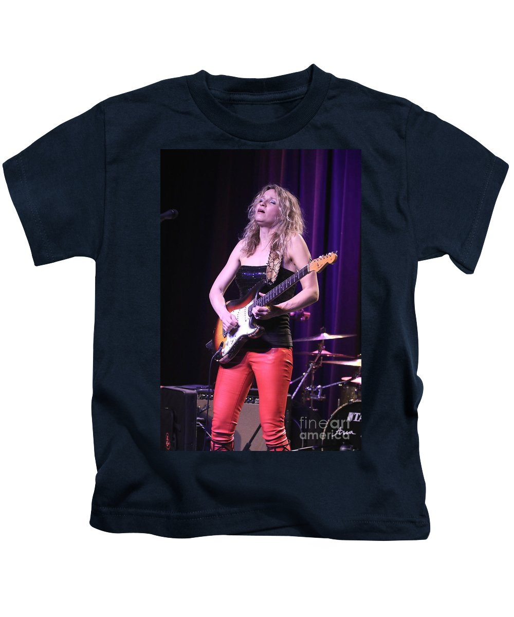 Guitarist Kids T-Shirt featuring the photograph Guitarist Ana Popovic by Concert Photos