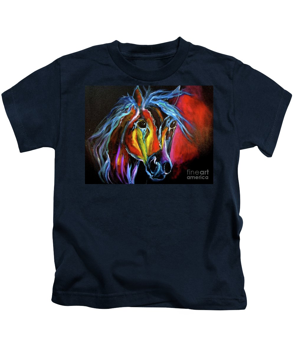 Horse Canvas Print Kids T-Shirt featuring the painting Gypsy Equine by Jenny Lee