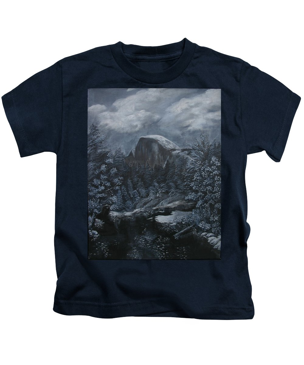 Yosemite Kids T-Shirt featuring the painting Half Dome Black And White by Travis Day