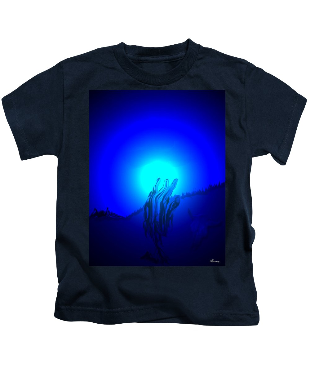 Hand Buffalo Skull Grass Trees Mountains Moon Abstract Sky Kids T-Shirt featuring the digital art Hand Up by Andrea Lawrence