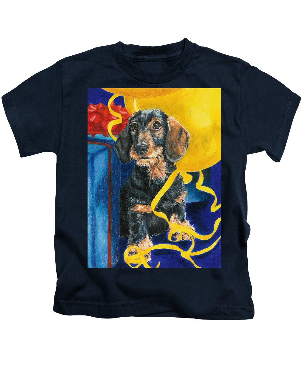 Dogs Kids T-Shirt featuring the drawing Happy Birthday by Barbara Keith