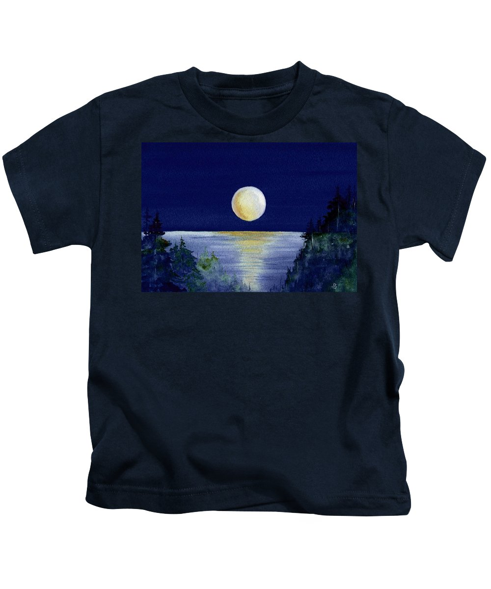 Watercolor Kids T-Shirt featuring the painting Harvest Moon by Brenda Owen