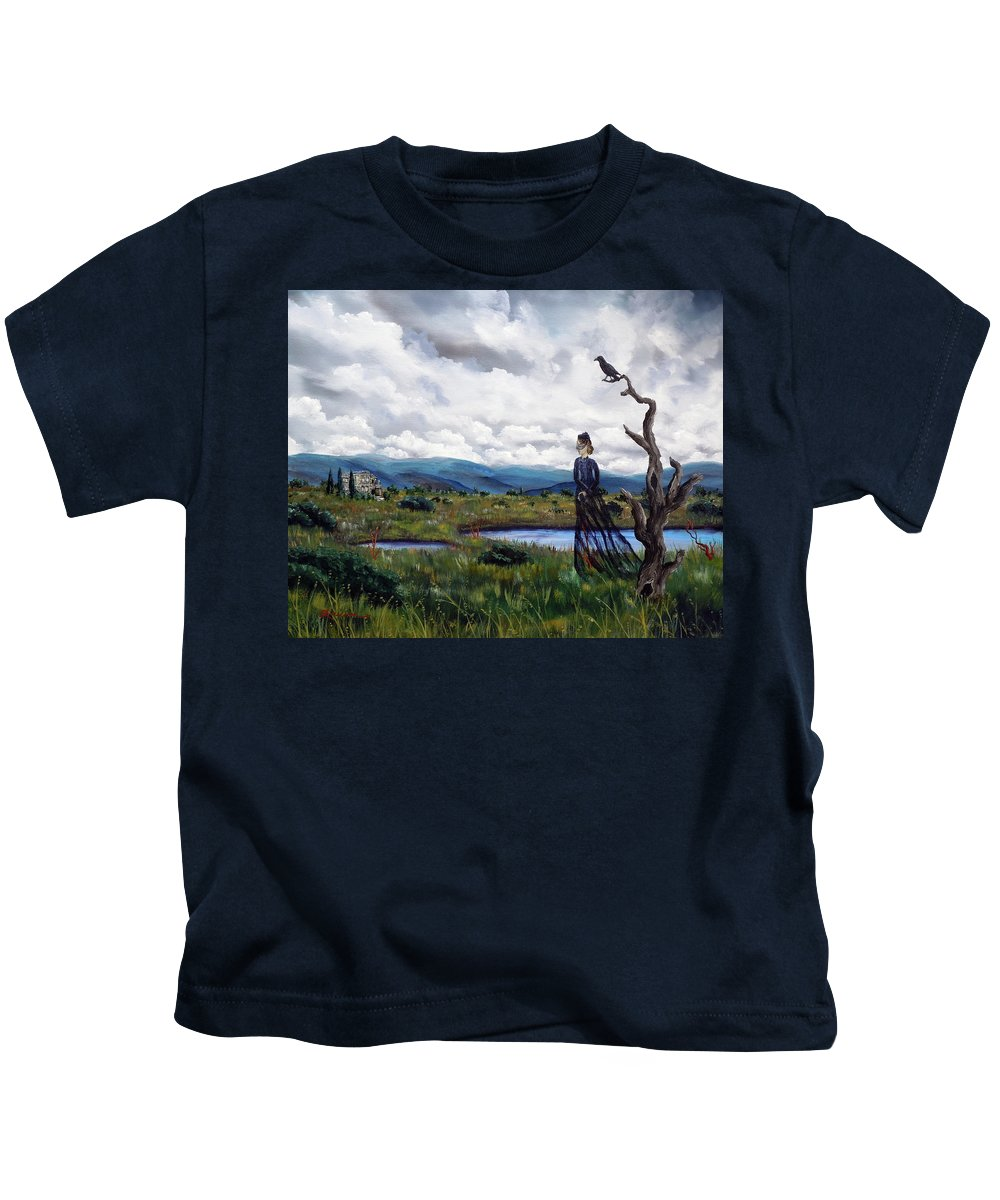 Ghost Kids T-Shirt featuring the painting Haunted Desolation by Laura Iverson