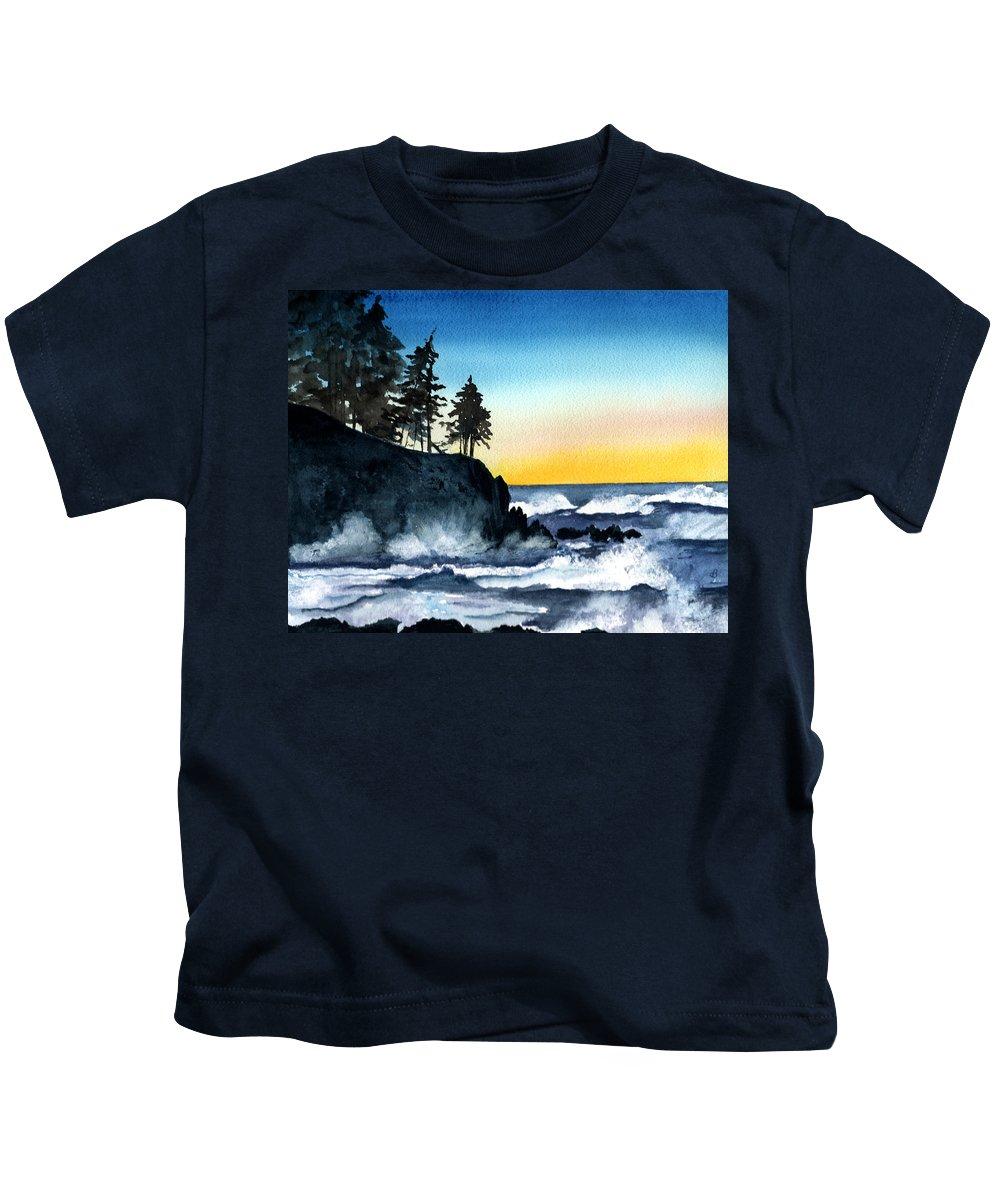 Alaska Kids T-Shirt featuring the painting Headland by Brenda Owen
