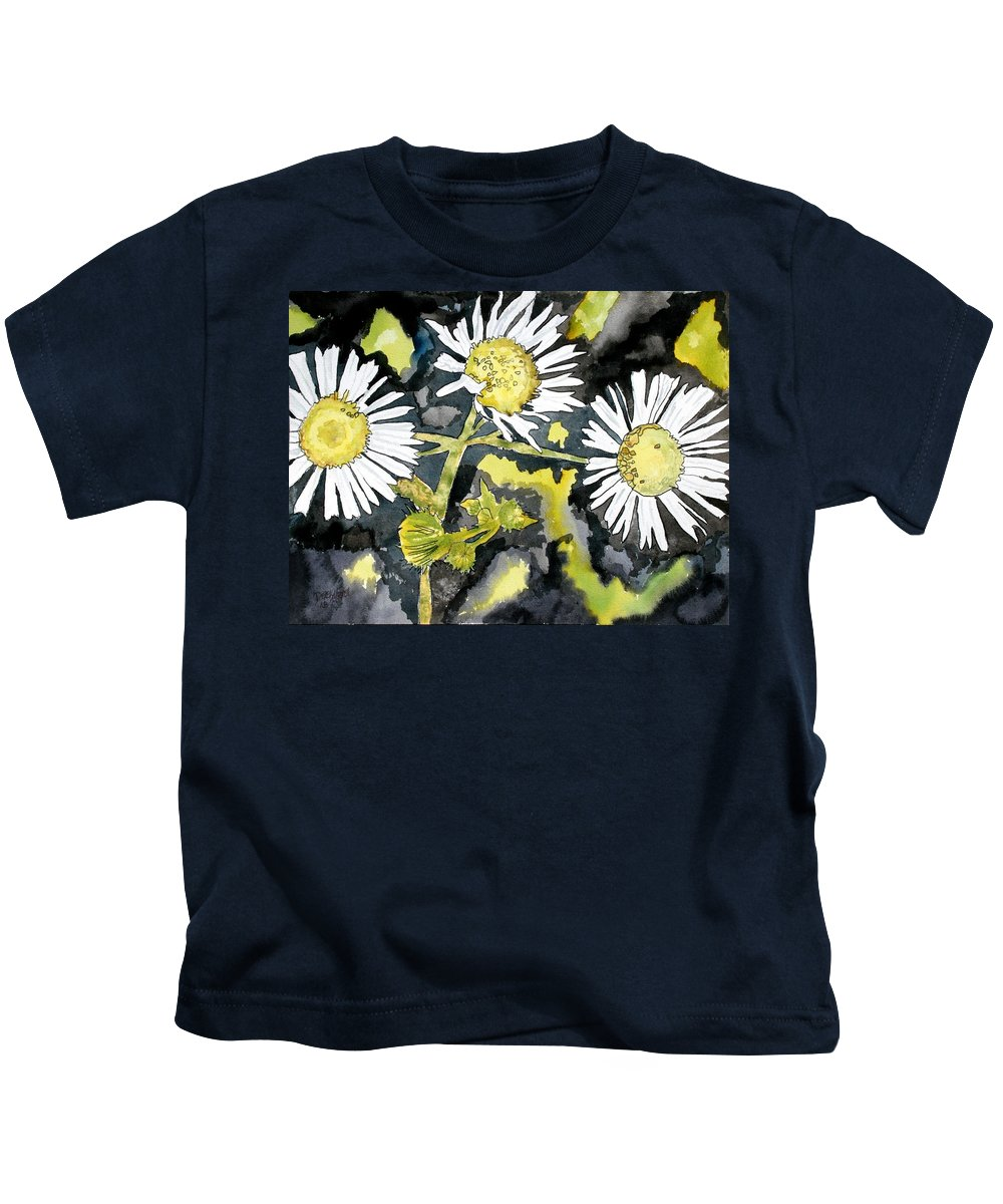 Wildflower Kids T-Shirt featuring the painting Heath Aster Flower Art Print by Derek Mccrea