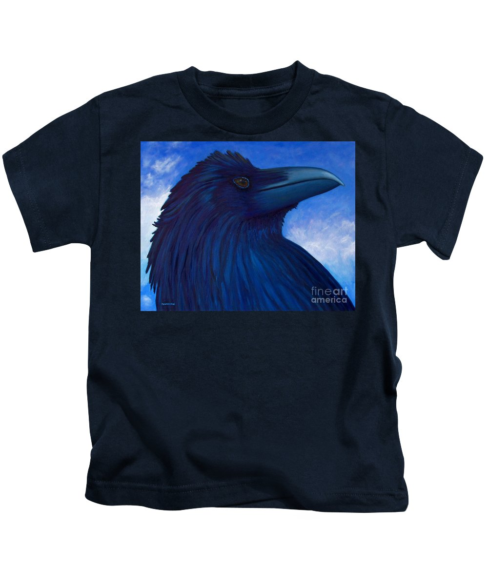 Raven Kids T-Shirt featuring the painting Heaven Bound by Brian Commerford
