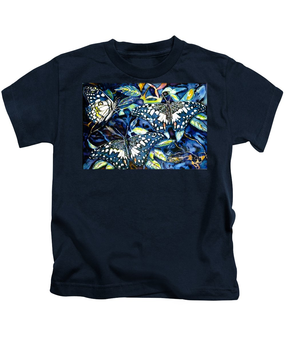 Butterfly Artwork Kids T-Shirt featuring the painting Heavenly Jewels by Norma Boeckler