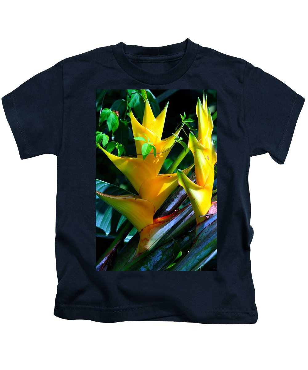 Heliconia Kids T-Shirt featuring the photograph Heliconia Caribea Gold by Karon Melillo DeVega
