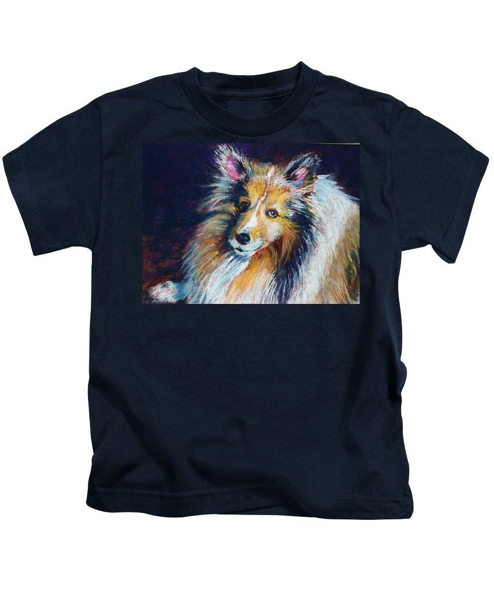 Dog Kids T-Shirt featuring the painting Her Name Is Lola by Laurie Paci