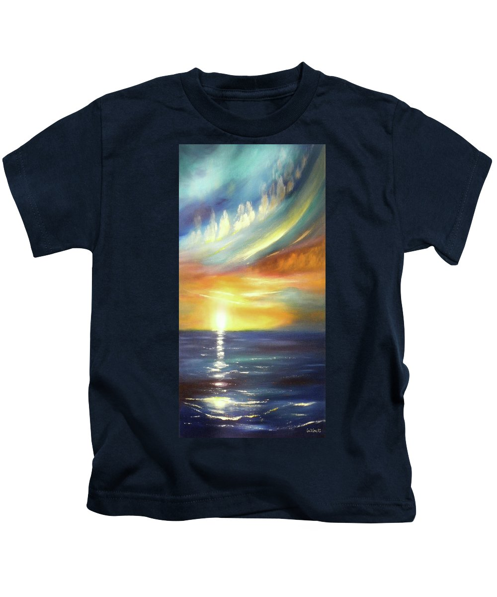 Brown Kids T-Shirt featuring the painting Here It Goes - Vertical Colorful Sunset by Gina De Gorna