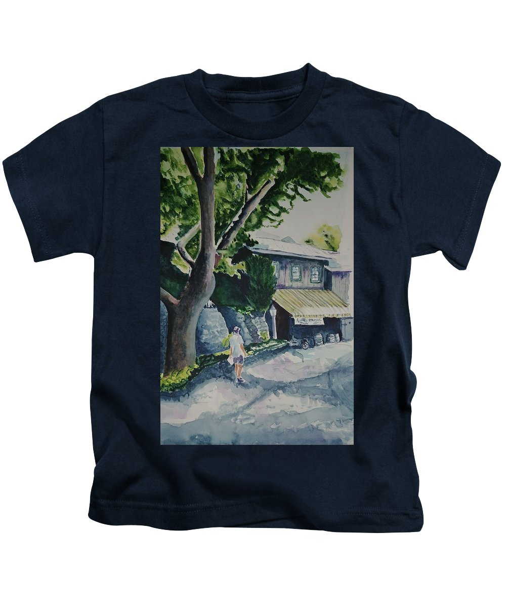 Landscape Kids T-Shirt featuring the painting Hermanhouf Stroll by Diane Carder