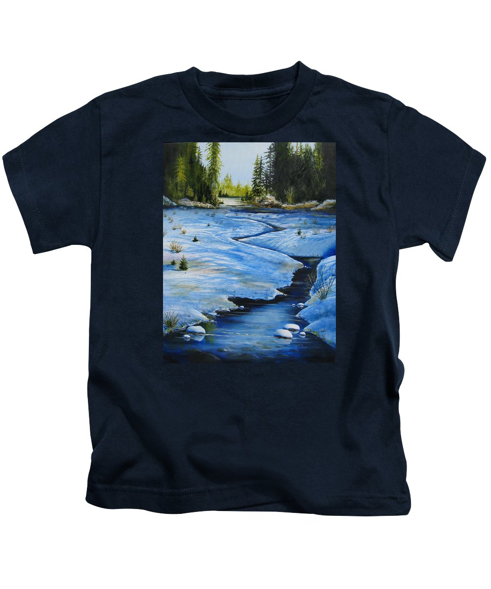 Landscape Kids T-Shirt featuring the painting High Country by Karen Stark