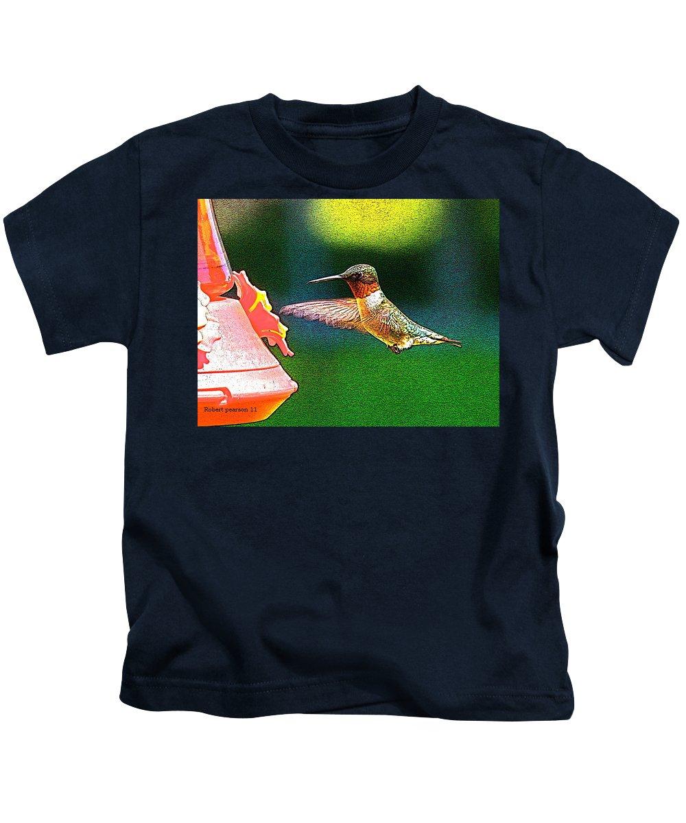 Humming Bird Kids T-Shirt featuring the photograph Hmmm by Robert Pearson