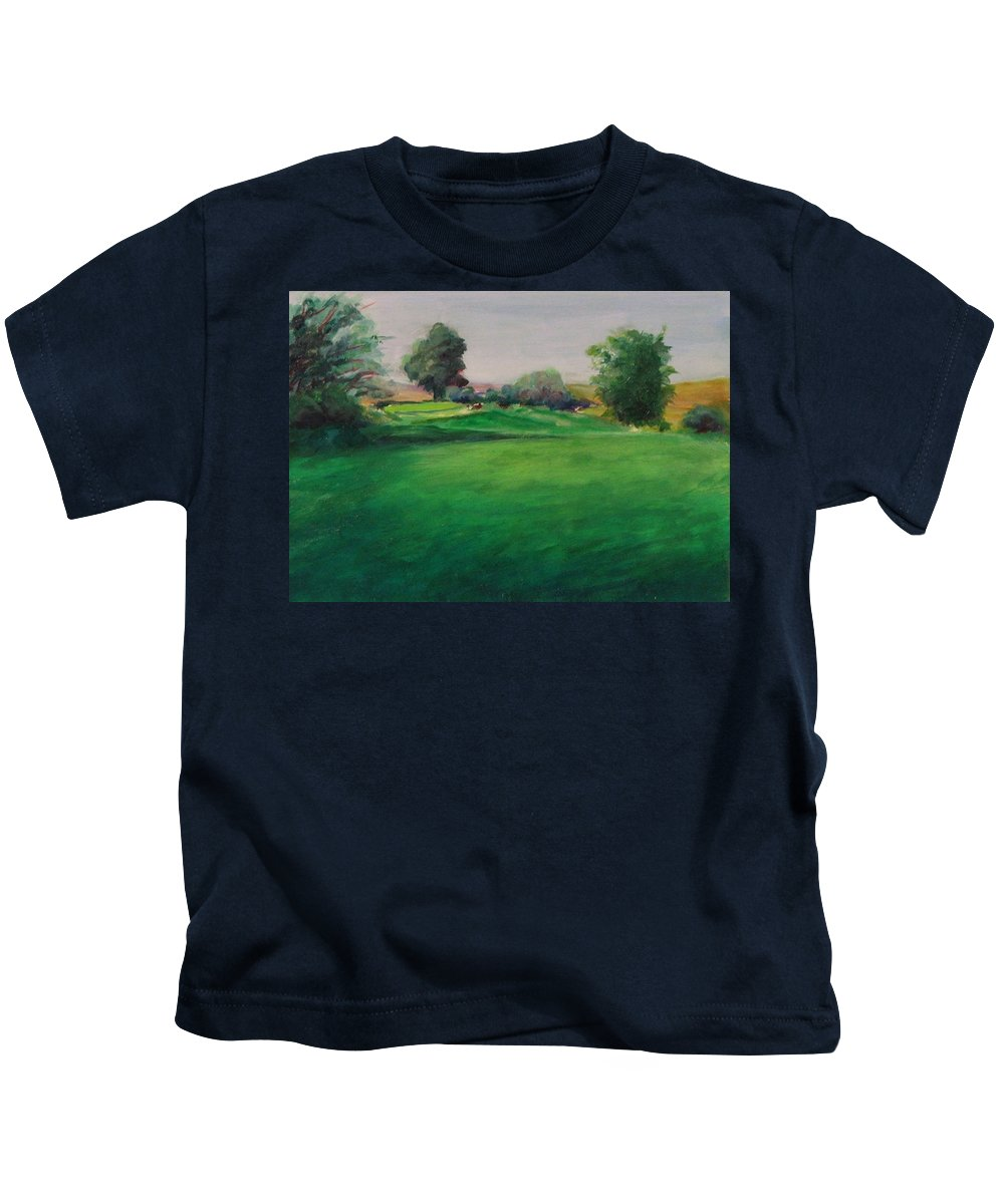 Golf Kids T-Shirt featuring the painting Hole 6 Natures Kiss by Shannon Grissom