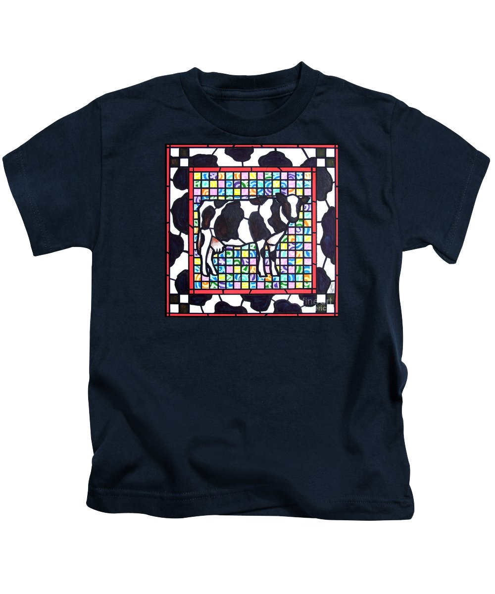 Cattke Kids T-Shirt featuring the painting Holstein 3 by Jim Harris