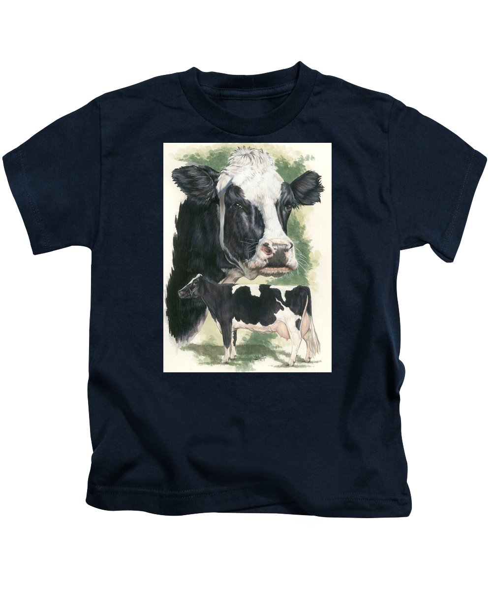 Cow Kids T-Shirt featuring the mixed media Holstein by Barbara Keith