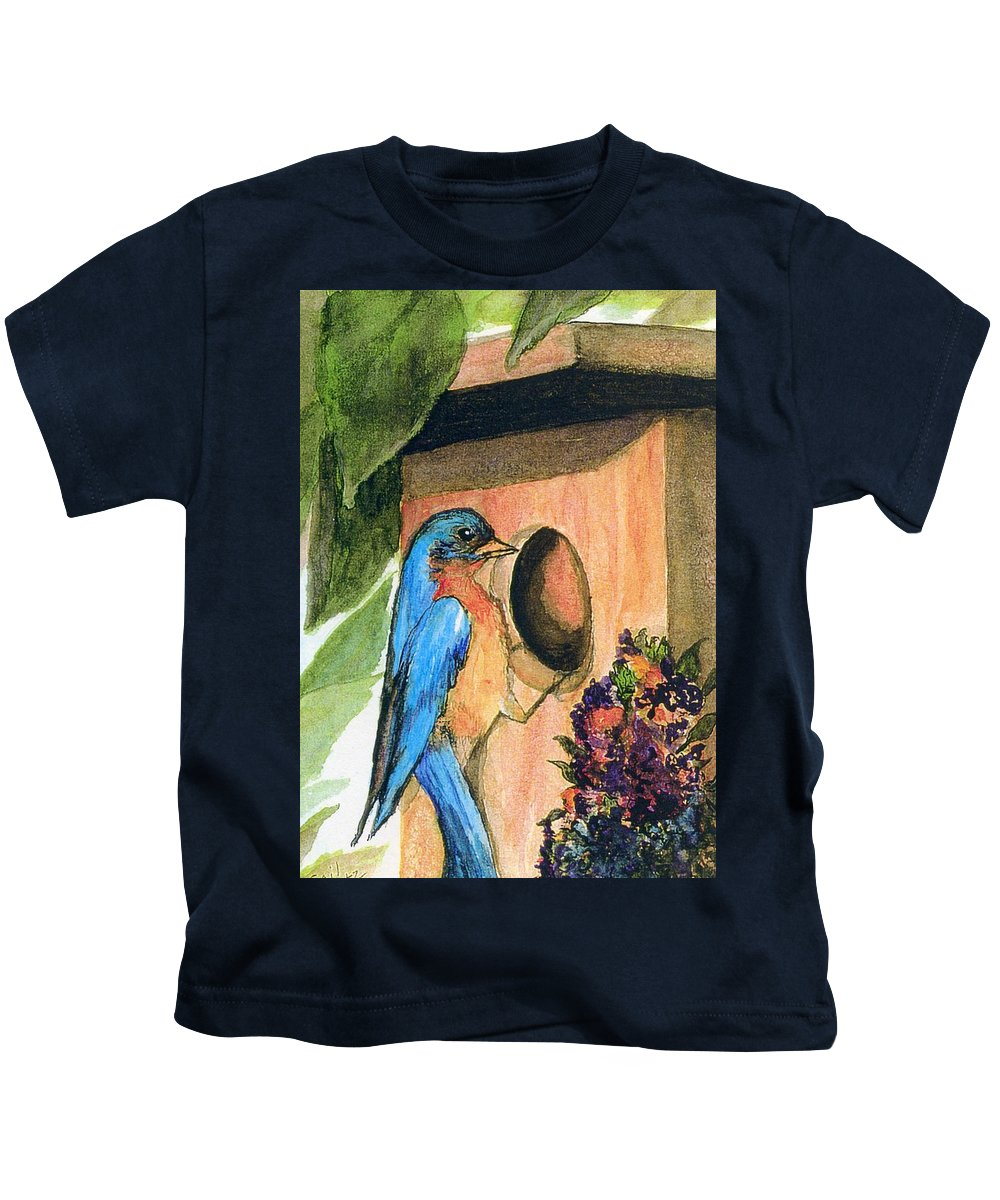 Bluebirds Kids T-Shirt featuring the painting Home Sweet Home by Gail Kirtz