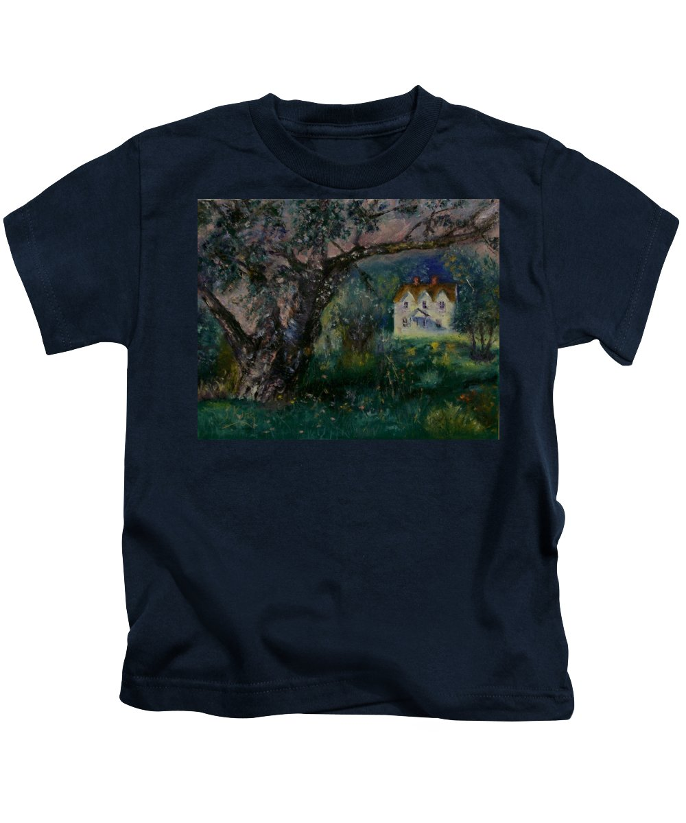 Landscape Kids T-Shirt featuring the painting Homestead by Stephen King