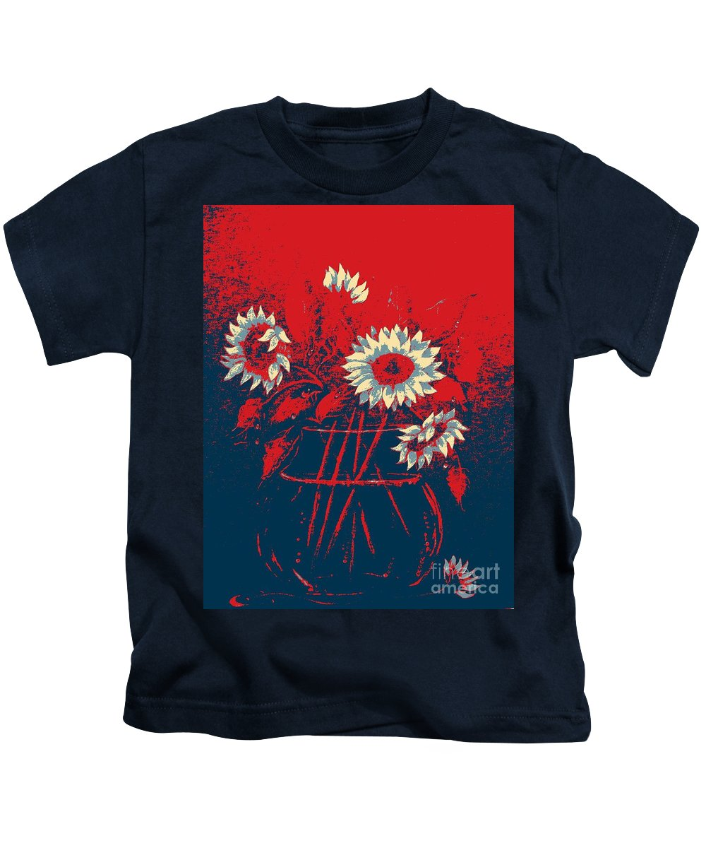 Sunflowers Kids T-Shirt featuring the digital art Hope Sunflowers by Barbara Griffin